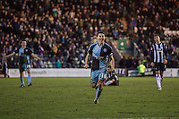 Matthew Bloomfield of Wycombe Wanderers celebrates at full time of the Sky Bet League 2 match between Plymouth Argyle and Wycombe Wanderers at Home Park, Plymouth, England on 30 January 2016. Photo by Mark  Hawkins / PRiME Media Images.