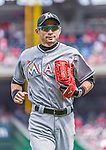 30 August 2015: Miami Marlins outfielder Ichiro Suzuki trots back to the dugout during game action against the Washington Nationals at Nationals Park in Washington, DC. The Nationals defeated the Marlins 7-4 in the third game of their 3-game weekend series. Mandatory Credit: Ed Wolfstein Photo *** RAW (NEF) Image File Available ***