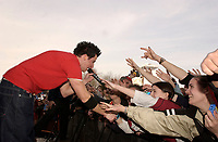 , 2002 File Photo<br /> <br /> Rock group Simple Plan  singer reach out to his fans during an outdoor concert<br /> <br /> <br /> (Mandatory Credit: Photo by Sevy - Images Distribution (&copy;) Copyright 2002 by Sevy<br /> <br /> NOTE :  D-1 H original JPEG, saved as Adobe 1998 RGB