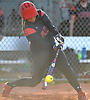 Claudia Porcaro #13, Plainedge catcher, breaks a 2-2 tie with a run-scoring double to right field in the bottom of the fifth inning of a Nassau County varsity softball game against Island Trees at Schwarting Elementary School in North Massapequa on Monday, May 1, 2017. Plainedge scored five more runs in the frame and went on to win by a score of 10-5.