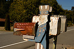 Fading Uncle Sam holding rusting rural mail box along US 101 near Lilliwaup, Wash.
