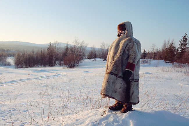 Olga Kirillova, a Sami woman from Lovozero, out on forest tundra in the winter time. Murmansk, NW Russia
