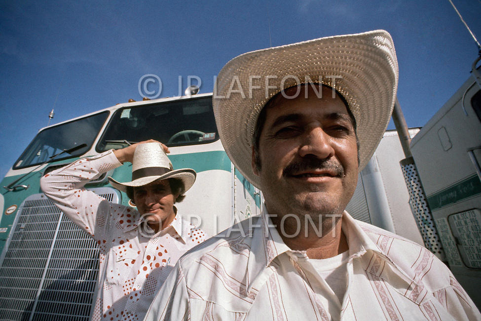 Dallas, Texas, 1978. Moment of rest at the Truck Stop. Charlie Lambright and Wayne Lowe works for Frozen Food Express.