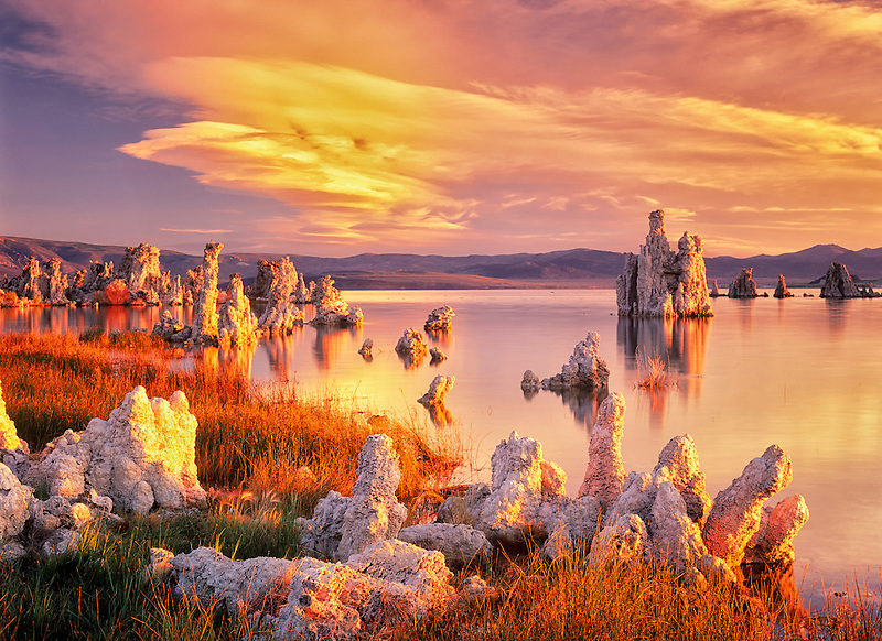 Tufa at Mono Lake with sunrise. California