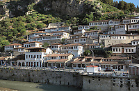 Houses in the Mangalem Quarter or Old Town and the Osum river, in Berat, South-Central Albania, capital of the District of Berat and the County of Berat. In July 2008, the old town (Mangalem district) was listed as a UNESCO World Heritage Site. Picture by Manuel Cohen