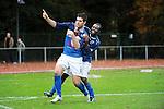 2015-10-25 / Voetbal / Seizoen 2015-2016 / FC Turnhout - KV Vosselaar / Alan Ven legde met de 3-1 de eindstand vast. Hier wordt hij omhelsd door Dani&euml;l Owusu<br /><br />Foto: Mpics.be