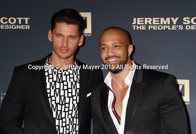 HOLLYWOOD, CA - SEPTEMBER 08: Director/producer Vlad Yudin (L) and producer Edwin Mejia arrive at the Premiere Of The Vladar Company's 'Jeremy Scott: The People's Designer' at TCL Chinese 6 Theatres on September 8, 2015 in Hollywood, California.