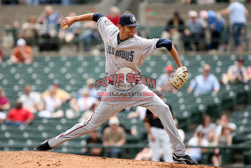 May 14th 2008:  Pitcher Jim Ed Warden (34) of the Columbus Clippers, Class-AAA affiliate of the Washington Nationals, during a game at Frontier Field in Rochester, NY.  Photo by Mike Janes/Four Seam Images
