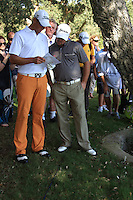 Graeme McDowell (NIR) has Fredrik Anderson Hed read the local ruels during the final day of the  Andalucía Masters at Club de Golf Valderrama, Sotogrande, Spain. .Picture Fran Caffrey www.golffile.ie