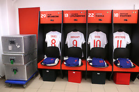 The England U21 shirts of Tom Davies, Tammy Abraham, Ronaldo Vieira and Adam Armstrong on display in their dressing room ahead of kick-off during Mexico Under-21 vs England Under-21, Tournoi Maurice Revello Final Football at Stade Francis Turcan on 9th June 2018
