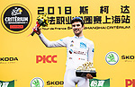 Pierre Roger Latour (FRA) AG2R La Mondiale wins the Young Rider award on the podium at the end of the 2018 Shanghai Criterium, Shanghai, China. 17th November 2018.<br /> Picture: ASO/Alex Broadway | Cyclefile<br /> <br /> <br /> All photos usage must carry mandatory copyright credit (&copy; Cyclefile | ASO/Alex Broadway)