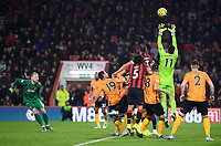 23rd November 2019; Vitality Stadium, Bournemouth, Dorset, England; English Premier League Football, Bournemouth Athletic versus Wolverhampton Wanderers; Rui Patricio of Wolverhampton Wanderers collects the corner kick cleanly - Strictly Editorial Use Only. No use with unauthorized audio, video, data, fixture lists, club/league logos or 'live' services. Online in-match use limited to 120 images, no video emulation. No use in betting, games or single club/league/player publications