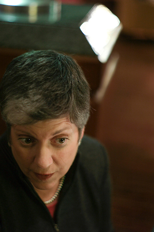 WASHINGTON, DC - Nov. 07: Arizona Gov. Janet Napolitano, during an interview at the Washington Hilton. A Democrat, she is the 21st governor of the state. Phoenix radio station KTAR reports on its Web site that Napolitano may challenge Sen. John McCain , R-Ariz., in 2010 if he is not elected president next year and decides to seek re-election. Phoenix radio station KTAR reports on its Web site that Napolitano may challenge Sen. John McCain , R-Ariz., in 2010 if he is not elected president next year and decides to seek re-election. (Photo by Scott J. Ferrell/Congressional Quarterly).