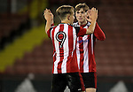 Sheffield United's Keegan Burton and Sheffield United's Stephen Mallon celebrate after the FA Youth Cup First Round match at Bramall Lane Stadium, Sheffield. Picture date: November 1st 2016. Pic Richard Sellers/Sportimage