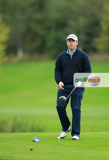 Michael Collins (Mallow Golf Range) on the 16th tee during Round 3 of The Cassidy Golf 103rd Irish PGA Championship in Roganstown Golf Club on Saturday 12th October 2013.<br /> Picture:  Thos Caffrey / www.golffile.ie