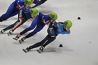 SHORTTRACK: DORDRECHT: Sportboulevard Dordrecht, 24-01-2015, ISU EK Shorttrack, Arianna FONTANA (ITA | #128), Elise CHRISTIE (GBR | #119), Sofia PROSVIRNOVA (RUS | #148), ©foto Martin de Jong