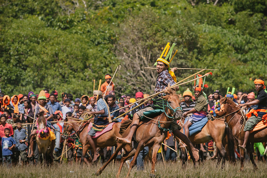 A Pasola warrior ready to throw his spear at the enemy forces during the event in Bondo Kawango, Kodi. Pasola is an ancient tradition from the Indonesian island of Sumba. Categorized as both extreme traditional sport and ritual, Pasola is an annual mock horse warfare performed in response to the harvesting season. In the battelfield, the Pasola warriors use blunt spears as their weapon. However, fatal accident still do occurs.
