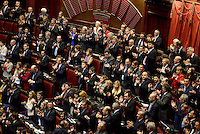 Roma, 20 Aprile 2013.Camera dei Deputati.Votazione del Presidente della Repubblica a camere riunite..Applausi dagli scranni del PD per l'elezione di Giorgio Napolitano