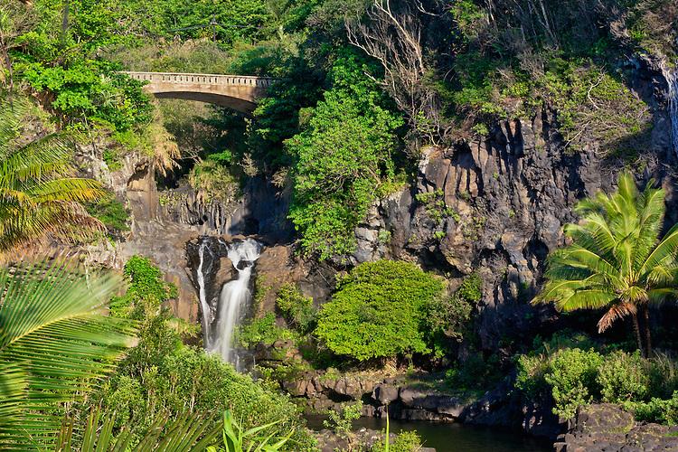 Golden light of sunrise in Ohe'o Gulch in HALEAKALA NATIONAL PARK on Maui in Hawaii USA