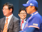 Yang Sang-moon, Mar 28, 2016 : South Korean baseball team LG Twins' manager Yang Sang-moon (C) attends a media day and fanfest of 10 clubs in the Korea Baseball Organization (KBO) in Seoul, South Korea. (Photo by Lee Jae-Won/AFLO) (SOUTH KOREA)