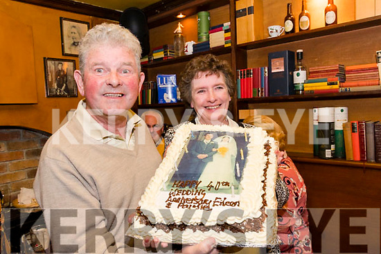"""At their daughter's wedding """"afters"""" in Kingston's, Killorglin on Saturday Paudie & Eileen O'Connor were surprised to be presented with a cake to celebrate their own 40th wedding anniversary"""