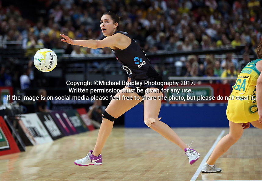 14.10.2017 Silver Ferns Kayla Cullen in action during the Constellation Cup netball match between the Silver Ferns and Australia at QudosBank Arena in Sydney. Mandatory Photo Credit ©Michael Bradley.