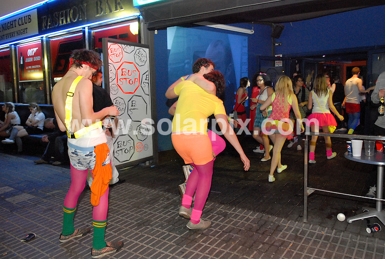 **ALL ROUND EXCLUSIVE PICTURES FROM SOLARPIX.COM**.**WORLDWIDE SYNDICATION RIGHTS**.PIctures show the first night of festivities for the 2nd week of students at Salou fest 2010, in Salou  near Barcelona, Spain, where up to 5000 British students take part in sports in the daytime, and then begin drinking on the beach to party until the early hours of the morning. Salou, Spain. 06 April 2010..This pic: Salou fest 2010, Week 2, day 1..JOB REF: 11042 NSP       DATE: 06_04_2010.**MUST CREDIT SOLARPIX.COM OR DOUBLE FEE WILL BE CHARGED**.**MUST AGREE FEE BEFORE ONLINE USAGE**.**CALL US ON: +34 952 811 768 or LOW RATE FROM UK 0844 617 7637**