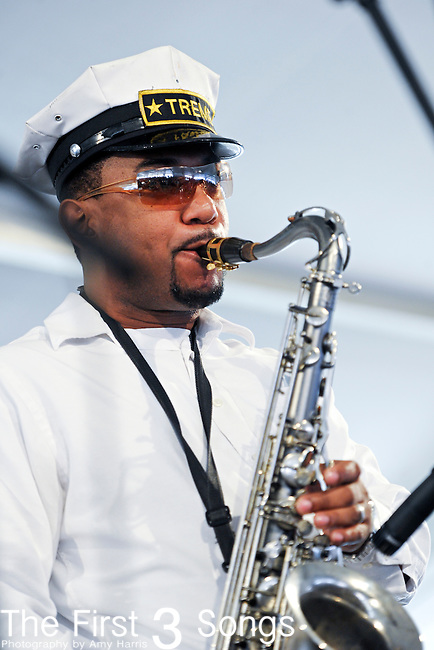 The Treme Brass Band performs during the New Orleans Jazz & Heritage Festival in New Orleans, LA on May 8, 2011.