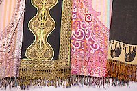 Traditional muslim garments on display at stall in bazaar in Jaipur, Rajasthan, Northern India