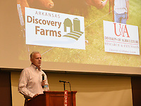 NWA Democrat-Gazette/FLIP PUTTHOFF <br /> CELEBRATION OF AGRICULTURE<br /> Andrew Sharpley with the University of Arkansas Division of Agriculture talks Tuesday March 21 2017 about Arkansas Discovery Farms, a program where water quality research is conducted on privately-owned businesses. There are 12 Arkansas Discovery Farms in the state, Sharpley said. He was one of  several speakers at the third annual National Ag Day Celebration at Northwest Arkansas Community College. The program, titled Benton County Agriculture, Producing Food for Life, featured speakers and information about crop and livestock production in the county, as well as conservation. Benton County has 2,157 farms totaling 304,845 acres, according to information at the program. Cynthia Edwards, Arkansas' deputy secretary of agriculture, was the keynote speaker.