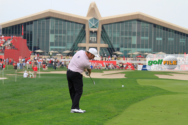 Damien McGrane plays his 2nd shot on the 9th hole during Day 3 Saturday of the Abu Dhabi HSBC Golf Championship, 22nd January 2011..(Picture Eoin Clarke/www.golffile.ie)