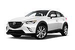 Stock pictures of low aggressive front three quarter view of 2017 Mazda CX-3 Touring-AWD 5 Door SUV Low Aggressive