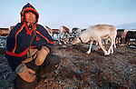 Land is our life and reindeers the justification of this life? says Emile, one of the migration leader. Poets of the great north, Sami get more than a hundred words to define the state of the snow and to describe their reindeers. Instead of our classical four seasons, the Sami year is rythmical with seven seasons corresponding to the circle of life of the precious cervidaes. .Reindeer migration from Gallivare to the national parks of  Sarek and Stora Sjôfallet, 200 km west. Lapland, Sapmi, north of Sweden..
