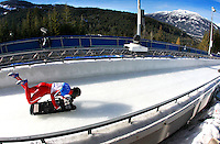 USA's Eric Bernotas of Avondae, Pa., starts a skeleton training run Wednesday, February 17, 2010 at the XXI Olympic Winter Games at the Whistler Sliding Center in Whistler, British Columbia.