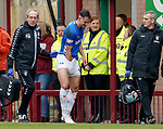 07.04.2019 Motherwell v Rangers: Nikola Katic ckecking everything is in working order