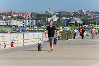 Jimmy Barnes walking the dogs at Bondi Beach with his wife