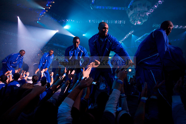The Men's basketball team greets fans after its introduction during Big Blue Madness on Oct., 16, 2009 in Rupp Arena...Photo by Ed Matthews