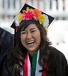 Dannae Ryman laughs during the University of Nevada, Reno Spring Commencement Exercises on Saturday morning, May 17, 2014.