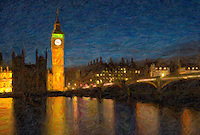 Big Ben and the Westminster Bridge reflected in the river Thames in London, England at twilight. The image was creatively modified to resemble a painting.