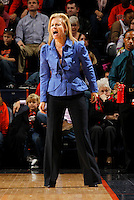 Florida State Seminoles head coach Sue Semra stands on the court during the game against Virginia Jan. 12, 2012 in Charlottesville, Va.  Virginia defeated Florida State 62-52.