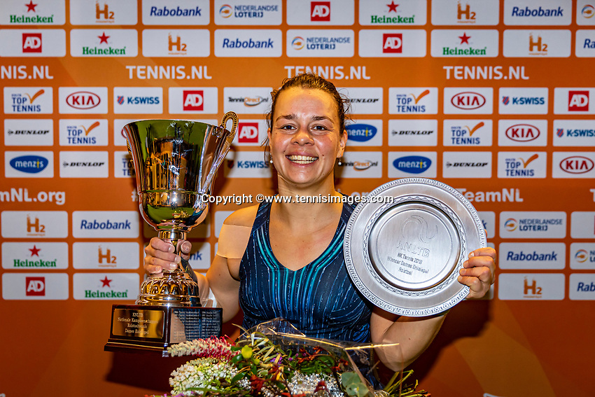 Alphen aan den Rijn, Netherlands, December 22, 2019, TV Nieuwe Sloot,  NK Tennis, Final womens wheelchair,  Marjolein Buis (NED) with the winners trophy<br /> Photo: www.tennisimages.com/Henk Koster