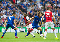 Arsenal's Alexandre Lacazette and Chelsea's David Luiz during the The FA Community Shield Final match between Arsenal and Chelsea at Wembley Stadium, London, England on 6 August 2017. Photo by Andrew Aleksiejczuk / PRiME Media Images.