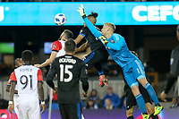 San Jose, CA - Saturday May 19, 2018: Quincy Amarikwa, David Ousted during a Major League Soccer (MLS) match between the San Jose Earthquakes and D.C. United at Avaya Stadium.