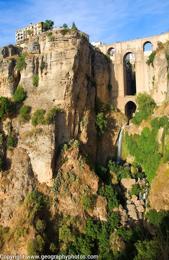 Historic New Bridge, Puente nuevo, spanning the El Tajo gorge over the Rio Guadalevín river, Ronda, Spain