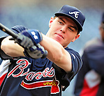 24 September 2010: Atlanta Braves infielder Freddie Freeman awaits his turn in the batting cage prior to facing the Washington Nationals at Nationals Park in Washington, DC. The Nationals defeated the Braves 8-3 to take the first game of their 3-game series. Mandatory Credit: Ed Wolfstein Photo
