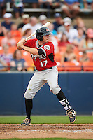 Carolina Mudcats shortstop Reed Harper (17) at bat during a game against the Frederick Keys on June 4, 2016 at Nymeo Field at Harry Grove Stadium in Frederick, Maryland.  Frederick defeated Carolina 5-4 in eleven innings.  (Mike Janes/Four Seam Images)