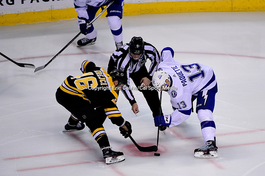 May 2, 2018: Boston Bruins center David Krejci (46) faces off against Tampa Bay Lightning center Cedric Paquette (13) during game three of the second round of the National Hockey League's Eastern Conference Stanley Cup playoffs between the Tampa Bay Lightning and the Boston Bruins held at TD Garden, in Boston, Mass. Tampa Bay defeats Boston 4-1. Eric Canha/CSM