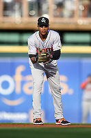 Jupiter Hammerheads second baseman Rehiner Cordova (1) during a game against the Bradenton Marauders on April 17, 2015 at McKechnie Field in Bradenton, Florida.  Bradenton defeated Jupiter 11-6.  (Mike Janes/Four Seam Images)