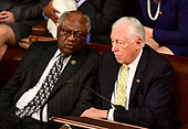 United States House Assistant Democratic Leader James Clyburn (Democrat of South Carolina), left, and US House Majority Leader Steny Hoyer (Democrat of Maryland), right, converse as the 116th Congress convenes for its opening session in the US House Chamber of the US Capitol in Washington, DC on Thursday, January 3, 2019.<br /> Credit: Ron Sachs / CNP<br /> (RESTRICTION: NO New York or New Jersey Newspapers or newspapers within a 75 mile radius of New York City)