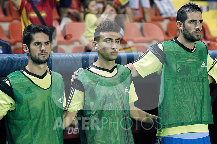 Spain's Isco, Munir El Haddadi and Kiko Casilla during 15th UEFA European Championship Qualifying Round match. September 8,2014.(ALTERPHOTOS/Acero)